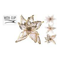 20 cm virág csattal - arany, vegyes/1db