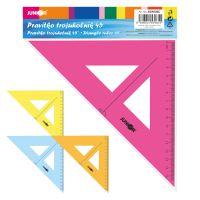 Háromszög vonalzó 16 cm átlátszó/ színes bliszteren