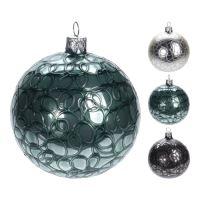 Karácsonyfa gömb - üveg, többféle minták 100 mm, 1db