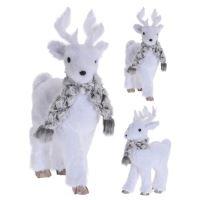 Figúrka - Jeleň biely so šálom 30 cm, mix/1ks