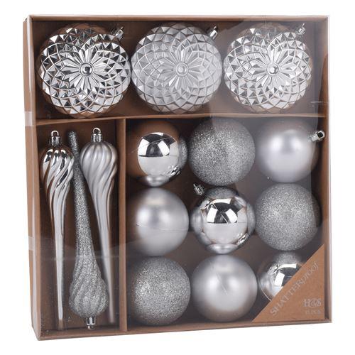 Karácsonyi díszek - PP ezüst 6-16 cm, 15 db készlet
