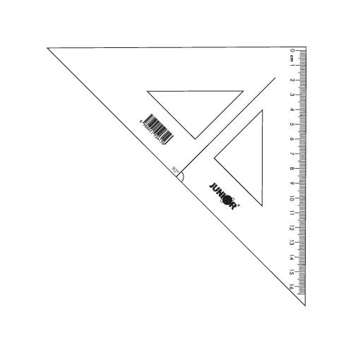 Vonalzó   derékszögű 16 cm, átlátszó