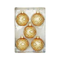 Karácsonyfagömb - üveg, arany 67 mm, 5 db készlet
