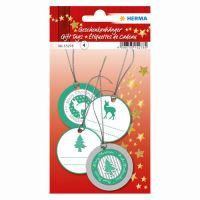 Vianočná visačka na darčeky - 3D zelené/strieborné