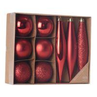 Karácsonyi dísz - PP piros 4,5/14,5 cm, 9 db készlet