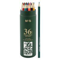 Pastelky šesťhranné M&G v puzdre, sada 36 ks