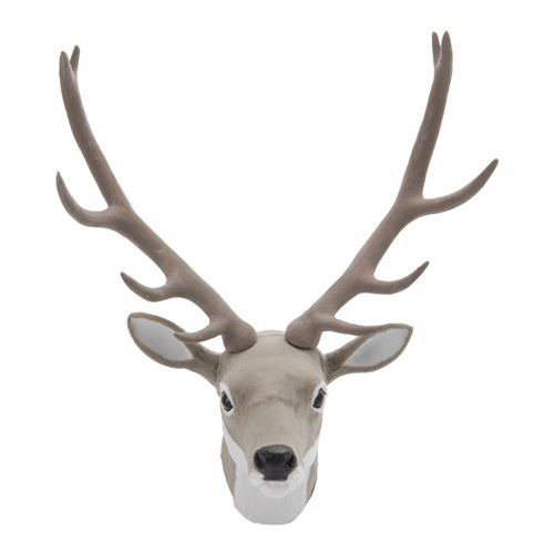 Dekorácia závesná - Jelenia hlava 30 cm, sivá