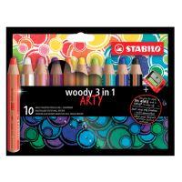 Pastelky STABILO woody 3in1 ARTY, sada 10 ks + strúhadlo