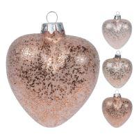 Vianočná ozdoba - sklenená, srdce ružové 9 cm, mix/1ks