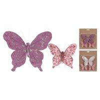 Motýľ na klipe - mix farieb, sada 3 ks