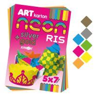 Színes papír készlet - rajzlap CARTON RIS NEON A4 250g /35db/7 szín