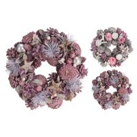 Dekorácia - Veniec so šiškami 24 cm, ružový, mix/1ks