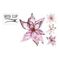 20 cm virág csattal - rózsaszín/arany, vegyes/1db