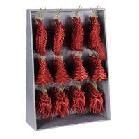 Karácsonyi dísz - pp piros különböző alakok 16 cm, 1db