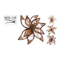 20 cm virág csattal - barna vegyes/1db