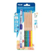 Akvarell ceruza készlet, hatszögletű, ecsettel MILAN 5db