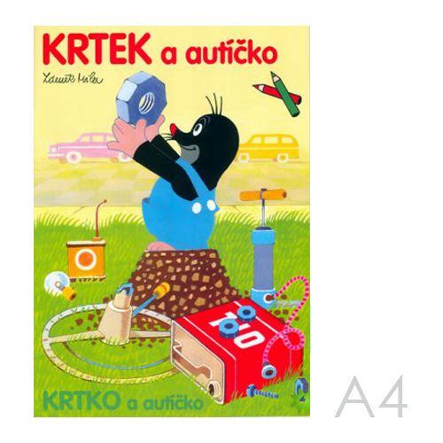 Omaľovánka  A4 Akim - Krtko a autíčko