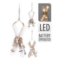 Lyže - svietiace/drevené LED - teplá biela 22 cm, mix/1ks