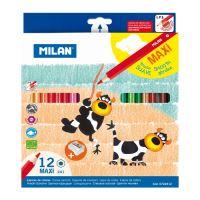 Színesceruza MILAN maxi hatszögletű 12 db + Hegyező