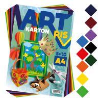 Színes papír készlet - rajzlap ART CARTON RIS A4 250g/50db/vegyes 10 színek/x5
