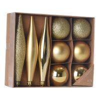 Karácsonydísz - PP arany 1-14 cm, 9 db készlet