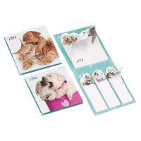 Jegyzettömb + oldaljelölő öntapadós  62x69 mm - Dog & Cat Design