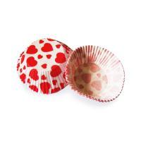 Süteményes papírkapszli, piros szívekkel O 50 x 30 mm [40 db]