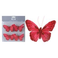 Motýľ na klipe 10 cm - červený, set 4ks