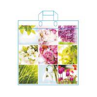 LDPE táska fülekkel 42x47 cm, tavaszi virágok