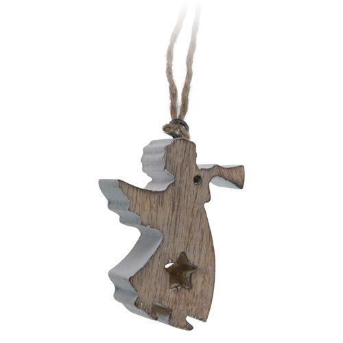 Vianočná ozdoba - drevená, anjel 11 cm, 1ks
