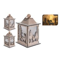 Lampáš s LED sviečkou/efekt reálneho plameňa, drevený 22 cm, mix/1ks