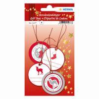 Vianočná visačka na darčeky - 3D červené/strieborné