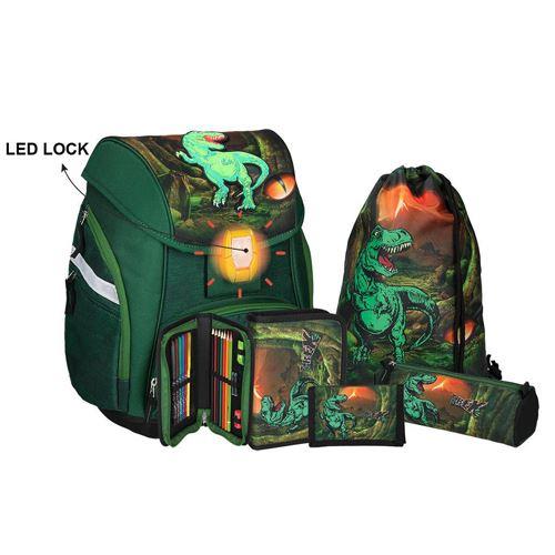 Iskolatáska - 5 db szett PRO LIGHT T-Rex, LED