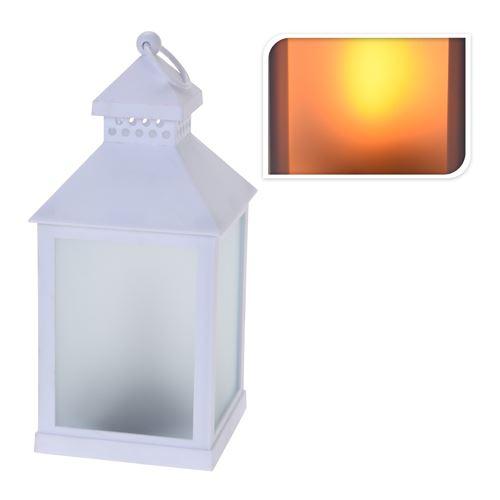 Lámpás LED gyertyával/reál égő efekt - fehér 23 cm