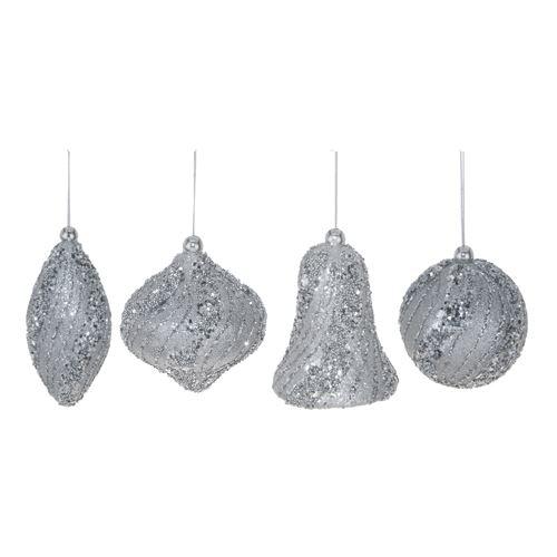 Karácsonyi díszek - PS ezüst csillogó, különböző formájú 8 cm, 2 db