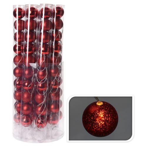 Világító lánc 10 LED - piros gömb 10x60 mm, 280 cm
