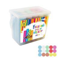 Kréta színes/aszfaltra, kerek 15 db - műanyag box