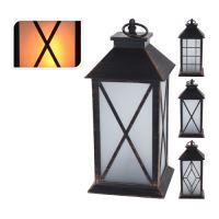 LED gyertyás lámpa/ reál láng efekt - fekete 28 cm, vegyes/1db