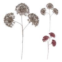 Dekorácia - Kvet na stonke 34 cm, ružový/hnedý, mix/1ks