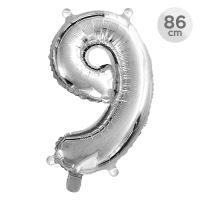 Számlufi szülinapra 86 cm, 9, ezüst