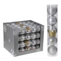Karácsonyfagolyó - - PP ezüst 80 mm, 5db készlet