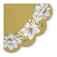 Szalvéta  PAW 32 cm White Poinsettia Gold