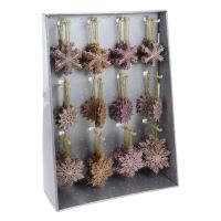 Karácsonyfadísz - PP rózsaszín/réz - hópehely 10 cm, vegyes/1db