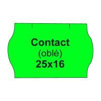 Etikety cen. CONTACT 25x16 oblé - 1125 etikiet/kotúčik, zelené