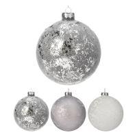 Karácsonfagolyó - üveg fehér/ezüst - többféle 80 mm, 1db