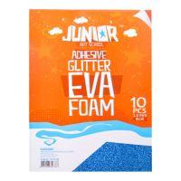 Dekorlap habosított A4 EVA 10 db kék öntapadós glitter 2,0 mm