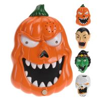 Halloween dekoráció - világítós maszka hanggal 20x13 cm - többféle, 1db