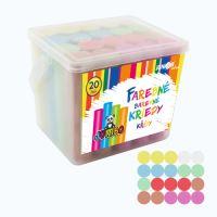 Kréta színes/aszfaltra, kerek 20 db - műanyag box