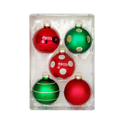 Karácsonyfa gömb - üveg, piros/zöld 67 mm, 5 db készlet