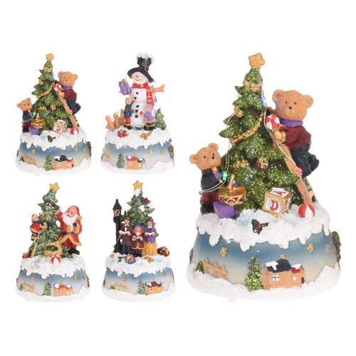 Dekorácia - vianočný motív, LED osvetlenie,  10,5x9x15,5 cm, mix/1ks